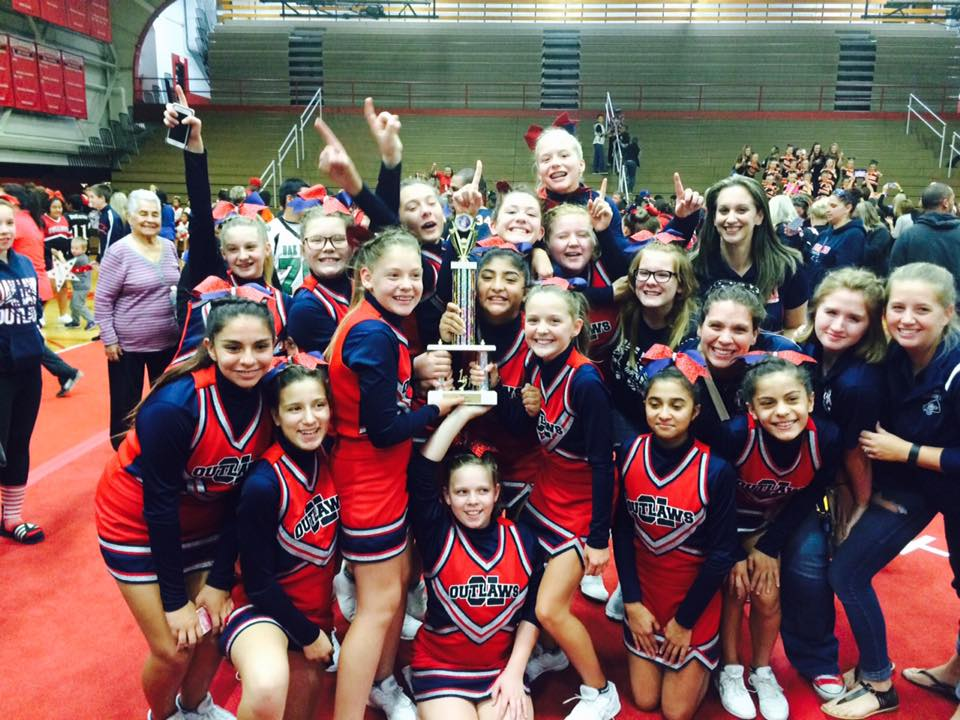 First Place Trophy Oak Lawn Outlaws Cheer Junior Division Fall 2016
