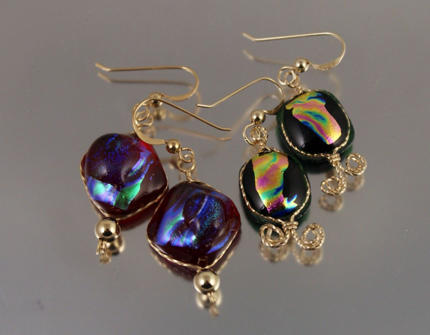 wire wrapped glass cab earrings